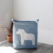 Cotton Waterproof Anti-dirty Foldable Clothing Storage Basket Snack Toy Storage Bucket , light blue