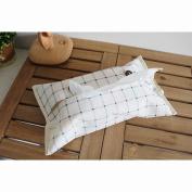 Handmade Cotton Linen Tissue Napkin Box Cover New Year Home Decoration , blue lattices