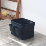 Cotton and Linen Desktop Storage Basket , black