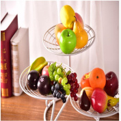 Fruit basket Multi-functional wrought iron three washable installation Living room simple modern home durable Bottom seat , three layers - white