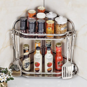 L Kitchen Racks Stainless Steel Desktop Wall Hanging 2/3 Layer Corner Rack Storage Kitchenware Seasoning