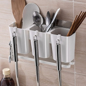 The kitchen wall tableware chopsticks rack fork cage,White B