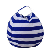 DIKEWANG Kids Stuffed Animal Plush Toy Storage Bean Bag Soft Pouch Stripe Fabric Chair,Perfectly Accommodate Your Plush Toys With Its Large Large Capacity