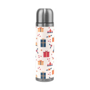 BENIGIRY Christmas Seamless Print Pattern Print 500ml Double Walled Vacuum Insulated Stainless Steel Water Bottle Vacuum Flask Travel Mug Thermos Coffee Cup