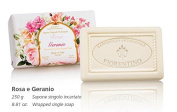 Rose and Geranium, Hand wrapped rectangular soap with carved Lily, 2x250g