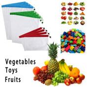Sumnacon 12Pcs Reusable Produce Storage Bags Washable Mesh Bag Grocery Shopping Bag for Fruit/Vegetable - 3 Various Sizes