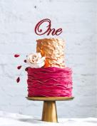 Number One Swirly Large Cake Topper - Glitter Dark Pink - 1st Birthday Topper