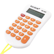 Unique Bargains Yellow String LCD 8 Digits Electronic Calculator White Orange