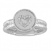 Chetan Collection 0.06 Carat T.W. Diamond Sterling Silver 925 with 18kt White Gold Plating Designer Heart Ring