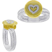 Chetan Collection 0.06 Carat T.W. Diamond Sterling Silver 925 with 18kt Gold Plating Designer Heart Ring