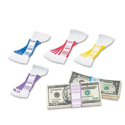 MMF Industries Self-Adhesive Currency Straps, Blue, 100 Dollars in Dollar Bills