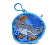 Puzzled Shark Kids Blue Coin Bag, 10cm
