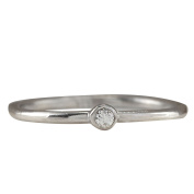 .04CTW Natural Diamond Ring 14K Solid White Gold