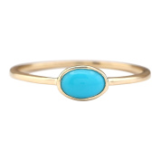 0.60 CTW Natural Turquoise Ring In 14k Yellow Gold