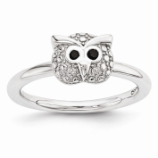 Sterling Silver Stackable Expressions Polished Onyx Owl Ring Size-7