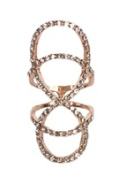 Jewellery Collection Pave Interlocking Knuckle Ring, Rose Gold Size 8
