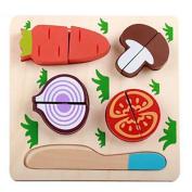Prevently Wooden Play Food Kitchen Accessory Cutting Fruit Vegetables Set Dessert Kids Cooking Kitchen Toy