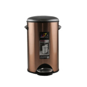Stainless steel circular living room trash can, brown bedside detachable inner bucket waste recycling bucket