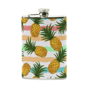 COOSUN Pineapple Pattern Drinking Flask with PU Leather Wrapped, Stainless Steel Leak Proof Liquor Hip Flask, 240ml