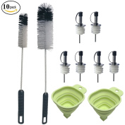 Condello Casa Baby Water Bottle Cleaning Brushes Long Handle Cleaner Tool Set With Cork Stoppers Dispenser Pourers Spouts for Wine,Liquor,Oil With Dust Cap and Plastic Kitchen Funnels Value Kit Pack o