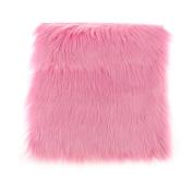 MagiDeal Artificial Sheepskin Fluffy Seat Cushion Runner Carpet Floor Mat Home Decorative - Pink, 45x45cm