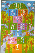 KC Cubs Playtime Collection Childrens Hopscotch Multicolor Polypropylene Educational Area Rug