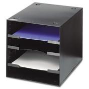 Steel Desktop Sorter, Four Compartments, Steel, 11 x 12 x 10, Black, Sold as 1 Each