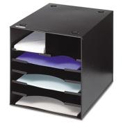 Steel Desktop Sorter, Seven Compartments, Steel, 12 x 12 x 11, Black, Sold as 1 Each