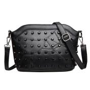 Crossbody bags for women black,Stitching shell packet Handbag shoulder bag Messenger bag Retro package-black