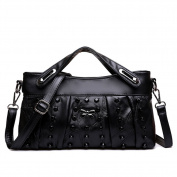 Ladies stitching clutch,Rivet banquet portable shoulder bags Crossbody bags for women black-black