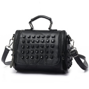 Crossbody bags for women black,Double pull Retro Stitchingrivets portable bag Shoulder messenger bag-black