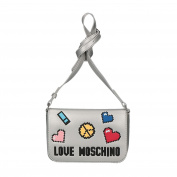 Love Moschino Borsa Soft Nappa Pu Argento, Women's Baguette, Silver, 6x14x20 cm