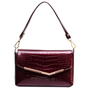 AiSi Crocodile Pattern Patent Leather Handbag Tote Shiny Shoulder Bag with Golden Hardware