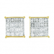 Square Princess Cut Earrings 1.81CT Real Diamonds 10K Genuine Gold Brand New .