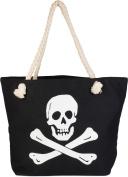 styleBREAKER Canvas & Beach Tote Bag black - Schwarz-Weiß One Size