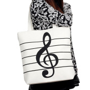 Womens Canvas Musical Note Single Shoulder Shopping Beach Handbag