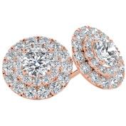 Imperial 1/2 Carat T.W. Diamond 10kt Rose Gold Double-Halo Stud Earrings