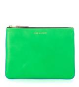 Bustina Comme des Garçons Wallet in pelle verde e blu fluo