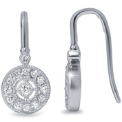 1/3ct Pave Diamond Vintage Halo Earrings 10K White Gold 1.3cm Tall