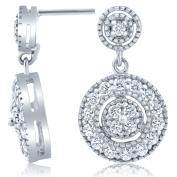 1/2 ct Diamond Dangle Earrings 10 Karat White Gold