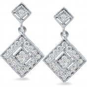 1/2ct Princess Cut Dangle Diamond Earrings Solid 10K White Gold