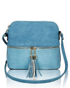 Foxlady Women's Mini Tassel Zip Trendy Snakeskin Faux Leather Sling Crossbody Handbag
