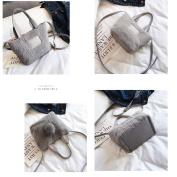 OURBAG Cute Bunny Plush Shoulder Bags Purse Grey
