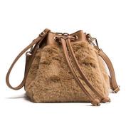 OURBAG Plush Shoulder Bags Purse Handbag Khaki