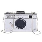OURBAG Women's Film Camera Shaped Snapshot Cross body Shoulder Handbag Purse Silver