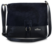 LiaTalia Genuine Italian Leather Buckle effect Crossbody Messenger bag with Protective Dust Bag