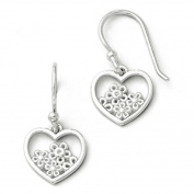 SS White Ice Heart Shaped w/ Flower Shepherd Hook Earrings
