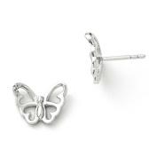 SS White Ice .01 ct Diamond Butterfly Post Earrings