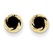 14k Madi K Onyx w/Gold Wreath Earrings