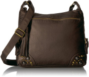 Bueno of California womens Bueno Faux Antique Leather Washed Crossbody
